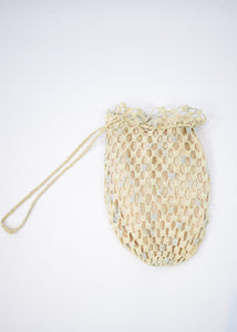 1880s Victorian Cream Crochet Bag
