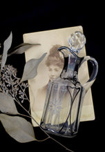 Vintage Etched Silver Overlay Glass Cruet