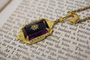 1940s Purple Czech Glass & Seed Pearl Starburst Necklace