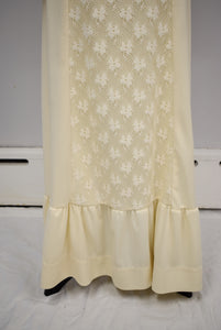 1970s Cream Lace Corset Prairie Dress