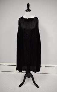 Antique 1900s Victorian Black Silk Mourning Slip