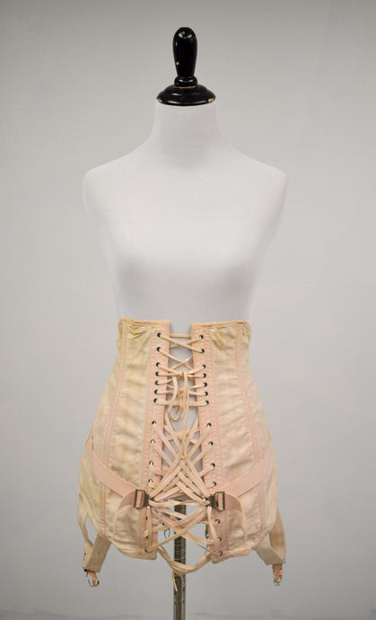 1940s Pink Fan Lace-Up Corset