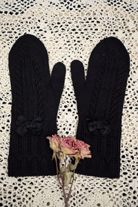 Antique 1910s Black Edwardian Mittens