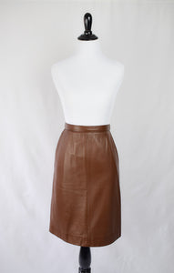 1990s Brown Leather Miniskirt