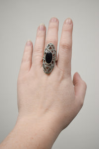 1980s Sterling Silver & Marcasite Shield Ring