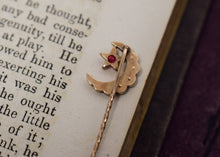Antique Victorian Crescent Moon & Star Stick Pin