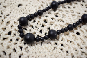 Antique 1900s Victorian Mourning Bead Necklace