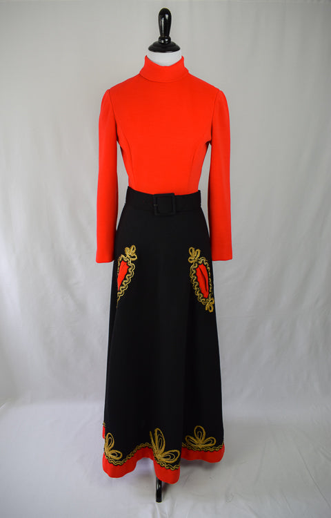1960s Embroidered Folk Maxi Dress