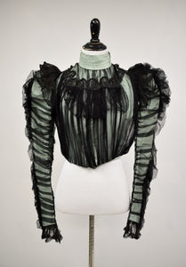 1890s Victorian Mint Green & Black Silk Overlay Mutton Sleeve Bodice