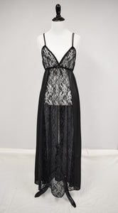 1970s Black Lace Empire Waist Nightgown