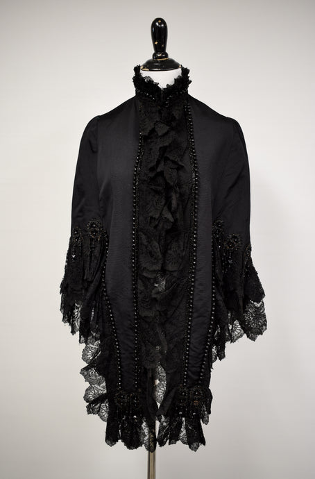 1890s Victorian French Silk & Lace Evening Cape