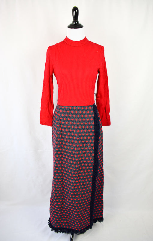 1960/70s Mock Neck Wrap Maxi - AS IS