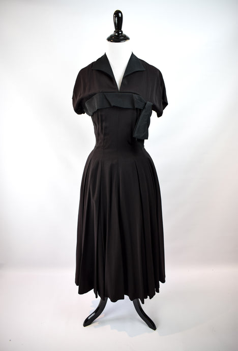 1940s Black Crepe Day Dress