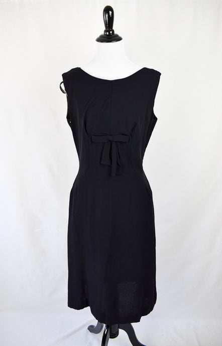 1960s Black Crepe Bow Dress - AS IS