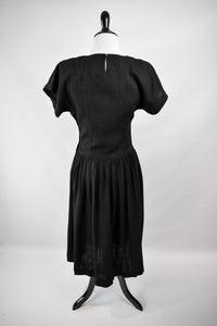 1970s Does 1940s Black Cutout Dress