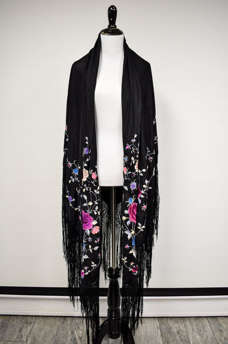1930s Black Silk & Cool Floral Embroidered Fringe Piano Shawl