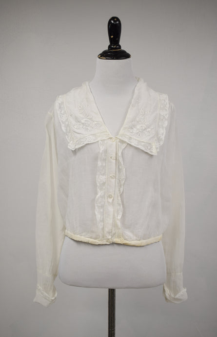 1910s Edwardian Embroidered Lace Blouse