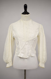 1900s Edwardian Lace Overlay Bishop Sleeve Bodice