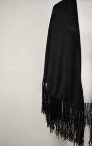 1970s Black Fringe Shawl