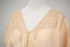 1930/40s Peach Silk & Lace Bed Jacket