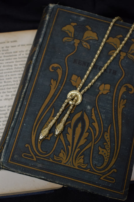 1930s Gold Gilt Twin Snake Necklace