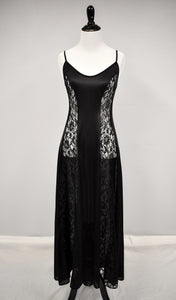 1980s Black Lace Panel Nightgown