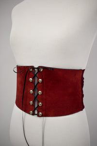Vintage 1970s Burgundy Leather & Velvet Corset Belt