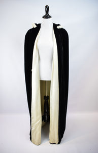 1930s Hooded Black Velvet Opera Cloak