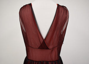 1960s Red & Black Lace Chiffon Nightgown