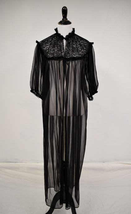 1960s Sheer Black Peignoir Robe