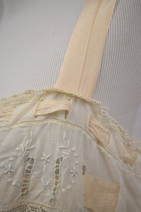 1910s Edwardian Embroidered Lace & Silk Ribbon Step-In