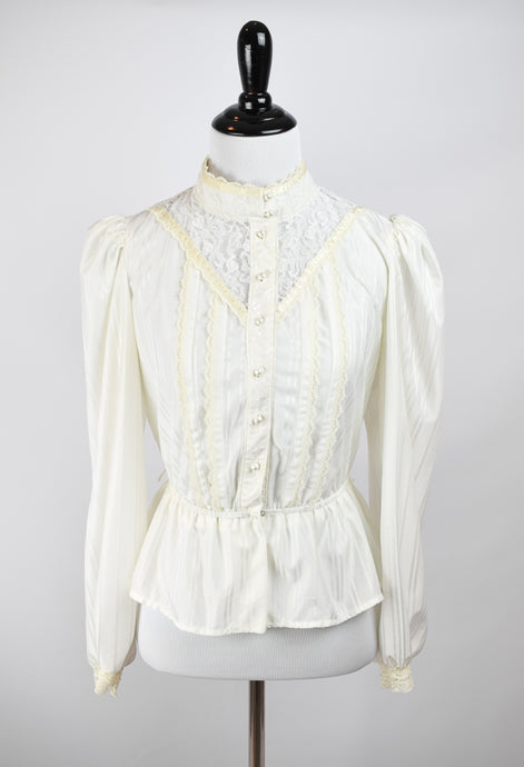 1970s Victorian Revival Lace Blouse