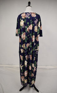1980s Navy Floral House Dress