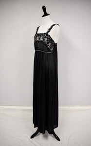 1990s Black Lace & Ribbon Nightgown