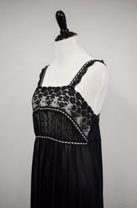 1970s Miss Dior Black Nightgown