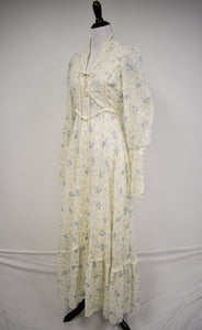 1970s Lace-Up Corset Ditsy Floral Maxi Dress