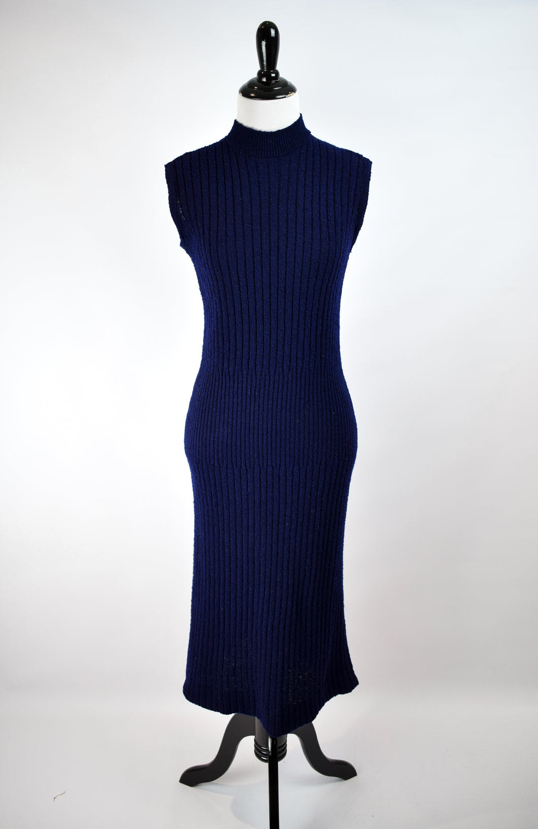1940s Ribbed Nubby Knit Pencil Dress