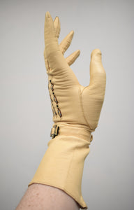 1950s Embroidered Cream Driving Gloves