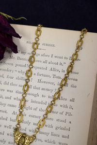 1930s Victorian Revival Brass & Seed Pearl Necklace
