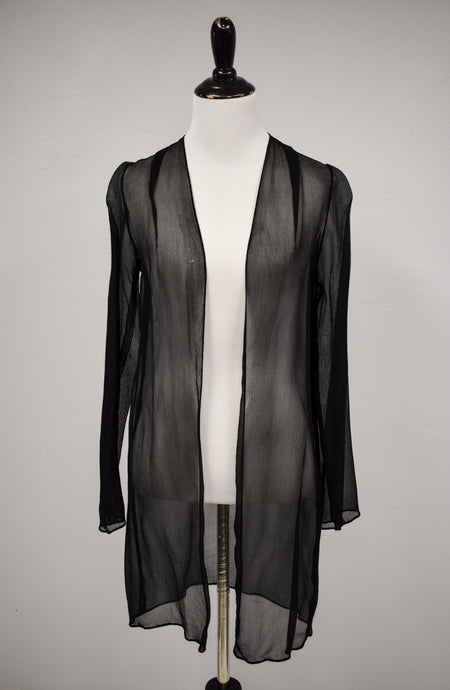 1930s Black Sheer Silk Georgette Duster Jacket