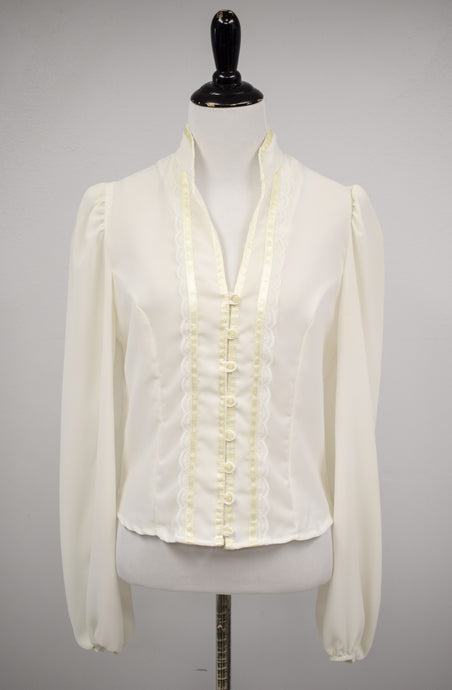 1970s Cream Lace-Trimmed Blouse