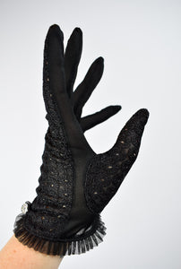 1950s Spiderweb Eyelet Lace Gloves