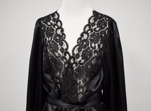 1990s Black Lace-Trimmed Satin Robe