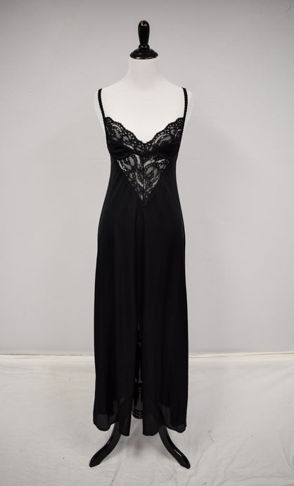 1990s Black Lace Plunge Nightgown