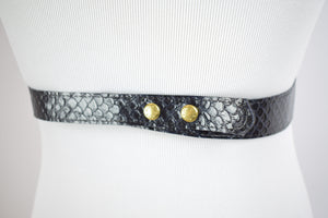 1950s Navy Blue Snakeskin Belt