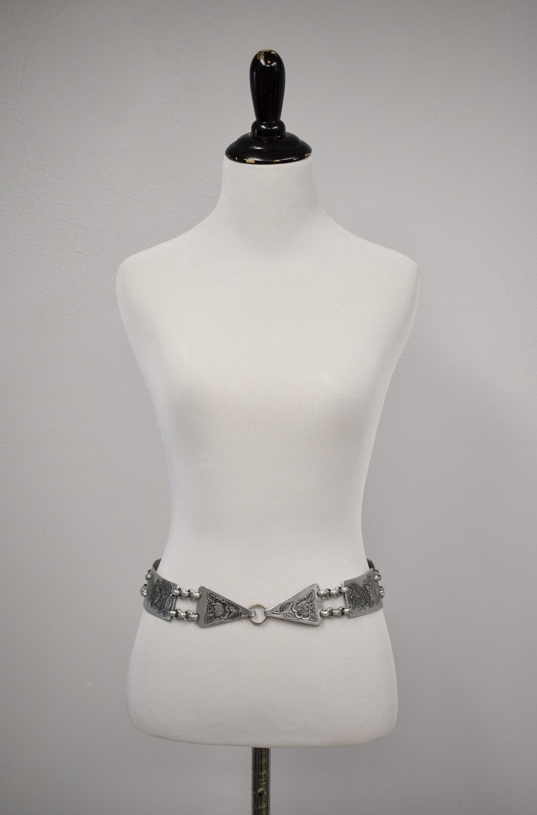 Vintage Hammered Metal Rose Belt