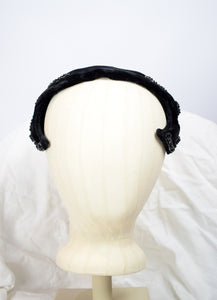 1950s Curled Beaded Velvet Cocktail Hat