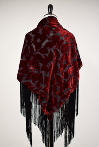 1990s Burgundy Velvet & Black Fringe Burnout Shawl