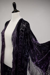 1990s Devore Burnout Velvet & Fringe Robe