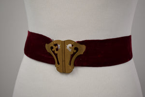 1930s Brass & Burgundy Velvet Art Nouveau Belt